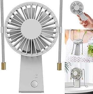 Baozun Ventiladores USB,Mini Ventilador de Mano Portátil con Cuerda para Colgar Puede Girar 90 Grados 3 Velocidades Eléctrico Ventilador Batería Recargable para Oficina,Hogar,Aire Libre Viajes(Gris)