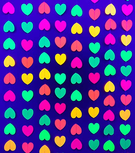 Glow in The Dark Party Supplies - Neon Blacklight Garland Hanging Decorations (Hearts, 4)