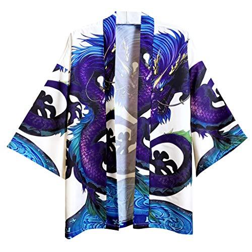 Xmiral Unisex Kimono Paare Frühling Tops Robe Halber Ärmel Offenes Hemd für Damen Herren Sommer Sonnenschutz Strand Mantel Schal(Blau,M)