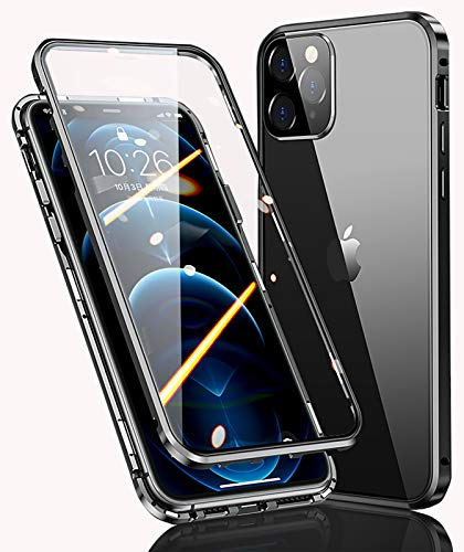 WEYNR Funda Apple iPhone 13 Pro MAX Magnética Carcasa,iPhone 13 Pro MAX 5G Funda Protectora de Cuerpo Completo 360° Cristal Templado Cover con Protector de Pantalla,Antigolpes Metal Bumper Case,Negro