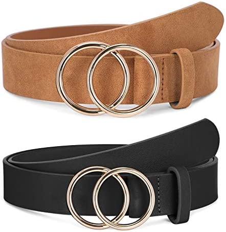 2 Pack Women Leather Belts Faux Leather Jeans Belt with Double O Ring Buckle Black Khaki M product image