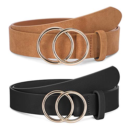 2 Pack Women Leather Belts Faux Leather Jeans Belt with Double O Ring Buckle (Black & Khaki, M)