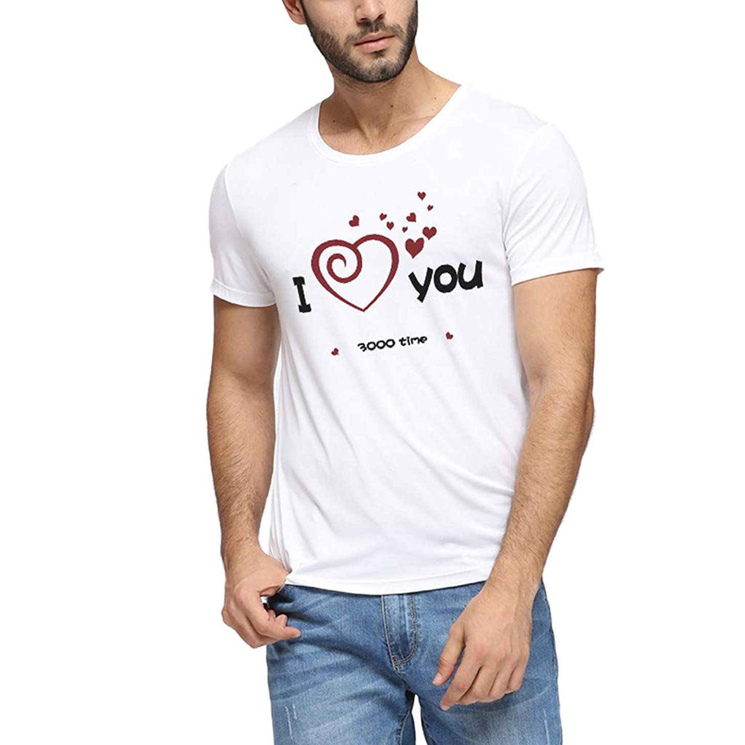 Men Letter Print T-shirt Short Sleeve Dad I Love You 3000 Print Tees Casual Blouse Tops Father Day Gift