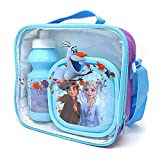 Disney Frozen Lunch Bag Kids 3 Piece Thermal School Lunch Set with Bottle
