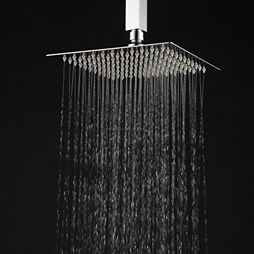 Hiendure® Circa 25x25cm Soffione doccia a pioggia moderno doccione in acciaio inox, quadrata