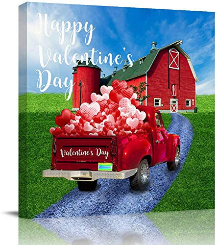 Impresión en lienzo Arte de la pared Pinturas al óleo Camión del día de San Valentín con corazones Globos Impresiones de imágenes Obra de arte para la sala de estar Baño Dormitorio, estirado