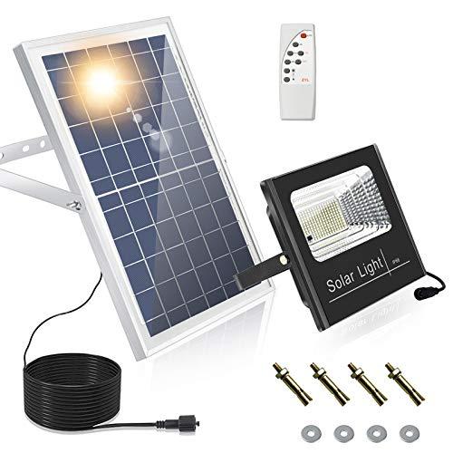 164 LED Luce di sicurezza con sensore solare da esterno con telecomando, luce da garage impermeabile IP66 con funzione timer, 3 lampade da parete regolabili in luminosità per giardino, fienile