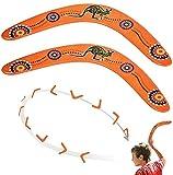 2pcs Wood Boomerang Hand Crafted Flying Boomerang by Austalian National Aboriginal Design