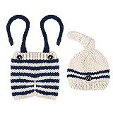 Toyvian Disfraz de bebé recién nacido, traje a rayas, ganchillo, pelele de punto, pelele para fotografía para niñas y niños