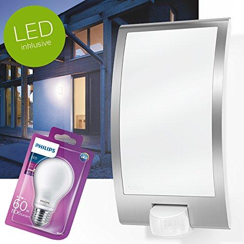 Steinel buitenwandlamp L22 met bewegingsmelder, buitenlamp wit met LED Philips E27