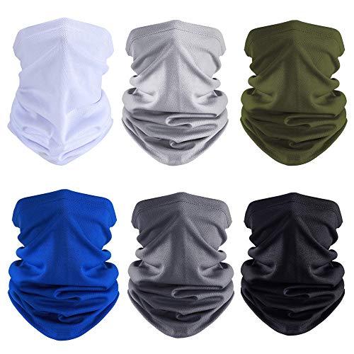 [6 Pack] Unisex Sun UV Protection Face Bandana Neck Gaiter, Reusable Washable Cloth Half Mask Scarf Motorcycle Balaclava for Men Women