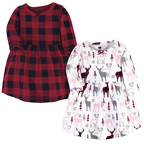 Hudson Baby Girl's Cotton Dresses, Deer, 3 Toddler