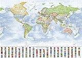 J.Bauer Karten Mapa del Mundo político, 140x100 cm, en Inglés, Versión 2019