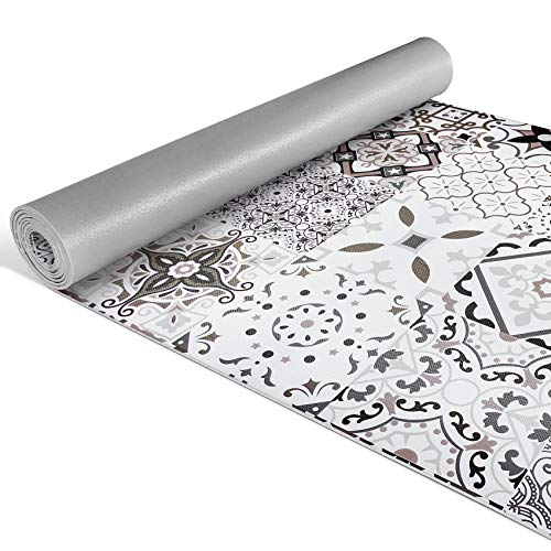 ANRO Teppichläufer Küchenläufer Küchenteppich Flur Teppich mit Design Fliesenoptik Grau-Braun rutschfest 200x52cm