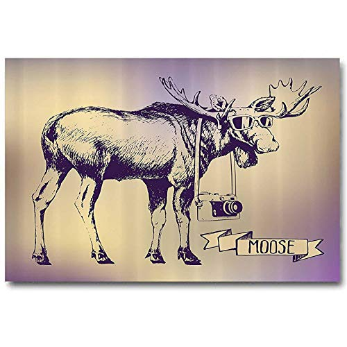 ScottDecor Moose Bedroom Poster Hipster Deer with Shades Sunglasses and Camera Vintage Ombre Design Funny Animal Art Best Gifts for Wife Purple Beige L36 x H24 Inch