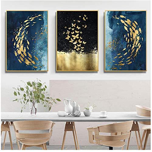 DLFALG Wandbilder Abstrakt Tiere Bilder Schmetterlinge Fische Leinwandbilder Modern Blau Gold Poster und Drucke Pop Art Dekor- 60x80cmx3 Ohne Rahmen