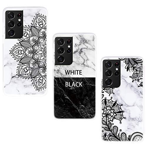 ChoosEU Compatible con 3X Fundas Samsung Galaxy S21 Ultra 5G Silicona Dibujos Mármol Creativa Carcasas para Chicas Mujer Hombres, TPU Case Antigolpes Bumper Cover Caso Protección - Blanco Negro, Flor