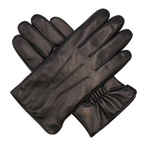 Harssidanzar Mens Luxury Italian Sheepskin Leather Gloves Vintage Finished Wool Lined, Black, M