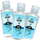 Germ Shark Mini Hand Sanitizer Gel - 60ml (2oz) Pack of 3 Individual Small Travel Size Hand Sanitizer with 75% Ethyl Alcohol - Portable for Backpack, Purse, Pocket