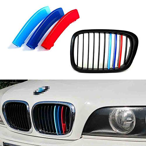 iJDMTOY Exact Fit ///M-Colored Grille Insert Trims Compatible With 1995-2003 BMW E39 5 Series Kidney Grille w/ 10-Beam