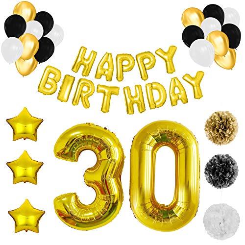 BELLE VOUS Decoración Cumpleaños # 30 con Globos (Pack de 26) Set Banderín Globos Aluminio Reutilizables Happy Birthday - Globos Cumpleaños Negro, Blanco y Dorado y Pompones
