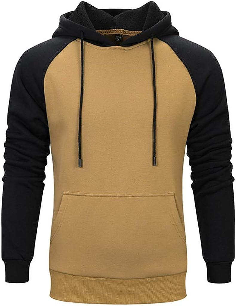 Misaky Hoodies for Men Autumn & Winter Casual Loose Colorblock Pocket Long Sleeve Pullover Hooded Sweatshirt Tops
