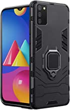 TheGiftKart Tough Armor Bumper Back Case Cover for Samsung Galaxy M02s | Ring Holder & Kickstand in-Built | Excellent 360 Degree Protection (Carbon Black)