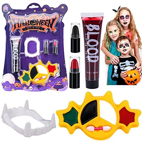 Disfraz halloween niño Pintura Cara , Sangre Artificial, Dientes de vampiro Zombie, Trucos de Bruja, Fantasma para Halloween, cosplay, Fiesta de cumpleaños