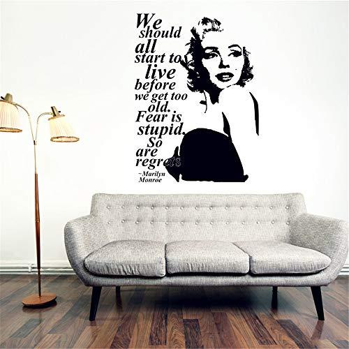 Wandtattoo Wohnzimmer Wandtattoo Schlafzimmer Marilyn Monroe Zitat bedauert Aufkleber Marilyn Monroe Porträt Banks Banks Inneneinrichtungen für Mädchen Schlafzimmer