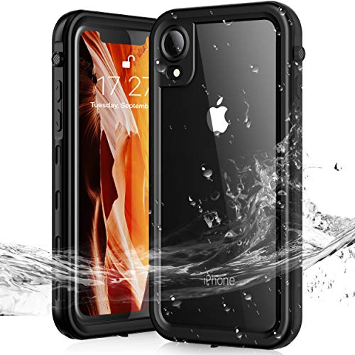 Janazan Waterproof iPhone XR Case, IP68 Full Sealed Underwater Protective Cover, Waterproof Shockproof Snowproof Dirtproof for Outdoor Sports(Black)