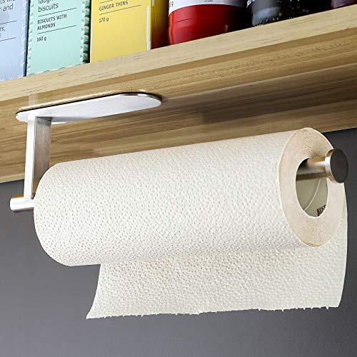 RUICER Portarrollos de cocina de acero inoxidable, soporte para rollos de papel de cocina, soporte para rollo de papel de cocina, sin agujeros, autoadhesivo