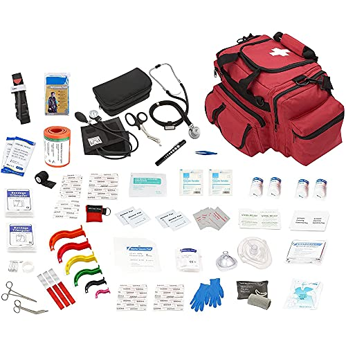 ASA Techmed Fully Stocked Large Lifeguard /EMT First Aid Bag EMS Kit w/ Emergency Medical Supplies/ First Responder Kit - Red