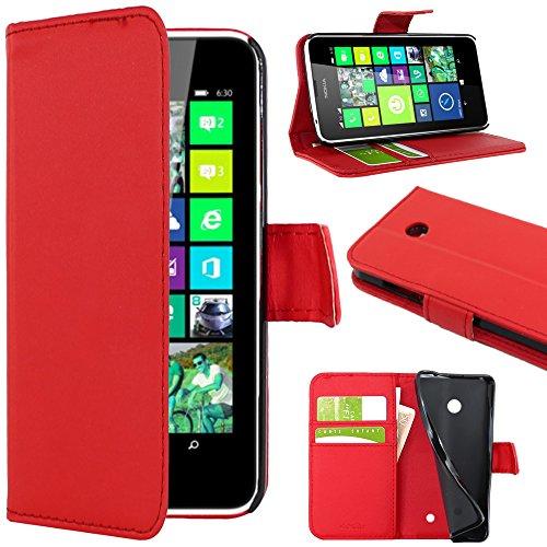 ebestStar - Coque Compatible avec Nokia Lumia 630 Etui PU Cuir Housse Portefeuille Porte-Cartes Support Stand, Rouge [Appareil: 129.5 x 66.7 x 9.2mm, 4.5'']