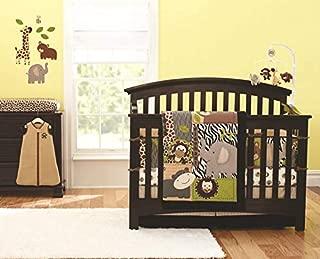 7-Piece Crib Bedding Jungle Sets Gray Elephant Crib Nursery Decor Bedding Set for Baby Boys and Girls