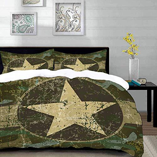 ropa de cama - Juego de funda nórdica, camuflaje, diseño sucio sucio polvoriento, tema de guerra encubierta de una estrella en círculo, ceja oscura beige verde militar, juego de funda nórdica de micro