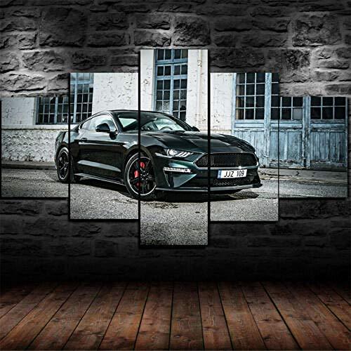 Yywife Leinwanddrucke Kreatives Geschenk 5 stück Leinwand Bilder Hd Drucke Poster abstrakt Gerahmte Ford Mustang Police Netze Iron King Supercar Moderne Wandbilder XXL Wohnzimmer Wohnkultur