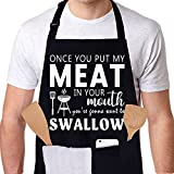 Skull Chef Funny Apron Gifts for Husband - Birthday Gifts for Men, Friends, Boyfriend, Fiance, Him - Adjustable Cooking Kitchen Apron for BBQ Grilling Cooking Chef with 3 Pockets