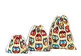Abaría - 3 Unidades Bolsa de algodón con Cuerdas – Pequeña Saco Bolsas -...