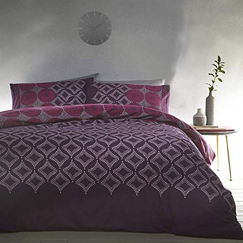 QPC Direct Abstract Spot Reversible Duvet Quilt Cover Set, Aubergine Purple and Fuschia Pink (Double)