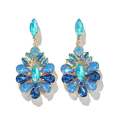 FEARRIN Pendientes Anillos de Moda Pendientes Colgantes de Diamantes de imitación Transparentes para Mujer Piedra de Cristal Colorida Elegancia geométrica Joyería de Fiesta Accesorios de Regalo 14313