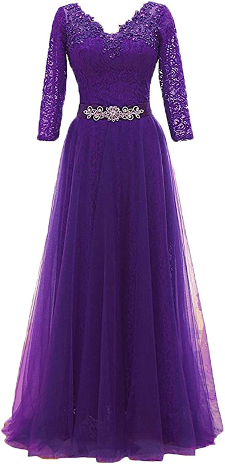 Huifany Evening Dresses for Women Formal with Long Sleeves Lace Bridesmaid Prom Dress for Wedding Guest