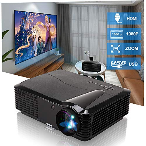 EUG LCD HD Video Projector - Wxga 4500 Lumen Support Full HD 1080P Red/Blue 3D MHL Compatible, LED Home Theater Cinema Projectors Built-in Speakers for Backyard Football Outdoor Movie Gaming Consoles