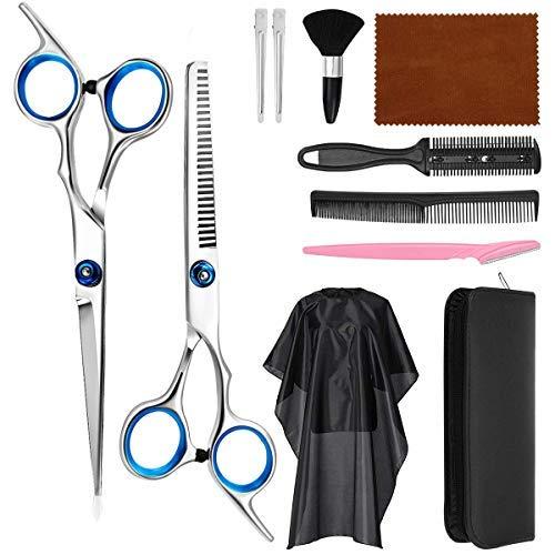 Mayepoo Friseur set 11tlg Haarschere Friseurschere Friseurwerkzeuge inhalt: Flachschere ausdünnschere Kämme Augenbrauenschneider usw. mit 1 Ledertasche geeignet für Männer und Frauen leicht zu tragen