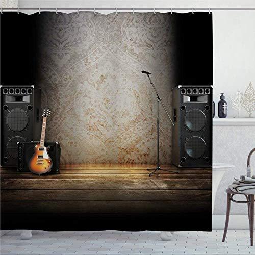 BYRON HOYLE Música guitarra instrumentos musicales en escenario cortinas de ducha para baño cortina de ducha con ganchos poliéster cortinas de baño 60x72 pulgadas fc376