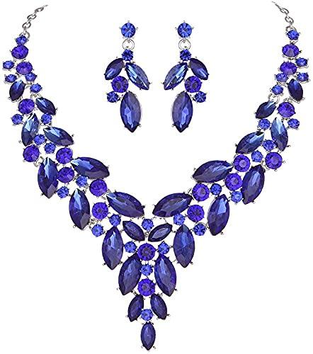 yuese Juego de collar para hija de Dubai de cristal rosa de moda para mujer, conjuntos de joyas de disfraces de boda indios (color metálico: azul)