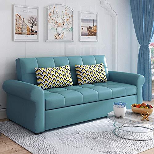 Home Equipment Sofá cama plegable Sofá cama de cuero de primera calidad Sofá de dos plazas multifuncional Cama convertible con almohada y cojín Relleno de látex Sofá futón extraíble Muebles para sa