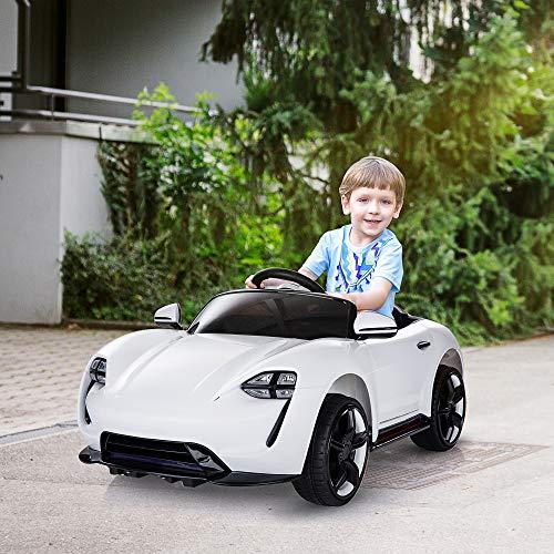 RC Auto kaufen Kinderauto Bild 3: HOMCOM Kinderauto Elektroauto Kinderfahrzeug Kinderwagen mit Fernbedienung Weiß L115 x B65 x H50 cm*