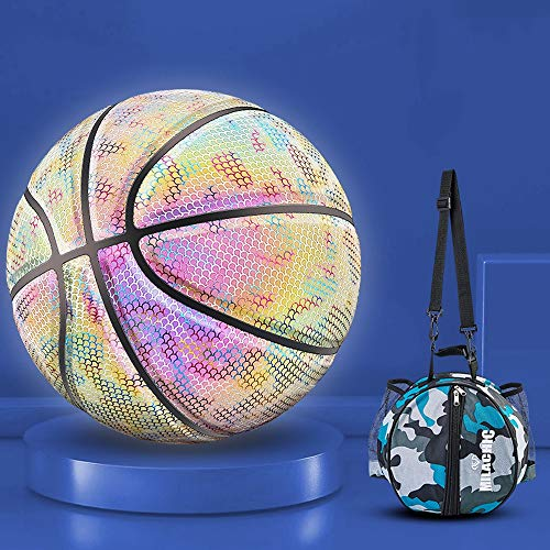 Buy Bargain YZPXDD Holographic Glowing Reflective Basketball - Handcraft Special Leather for Light U...