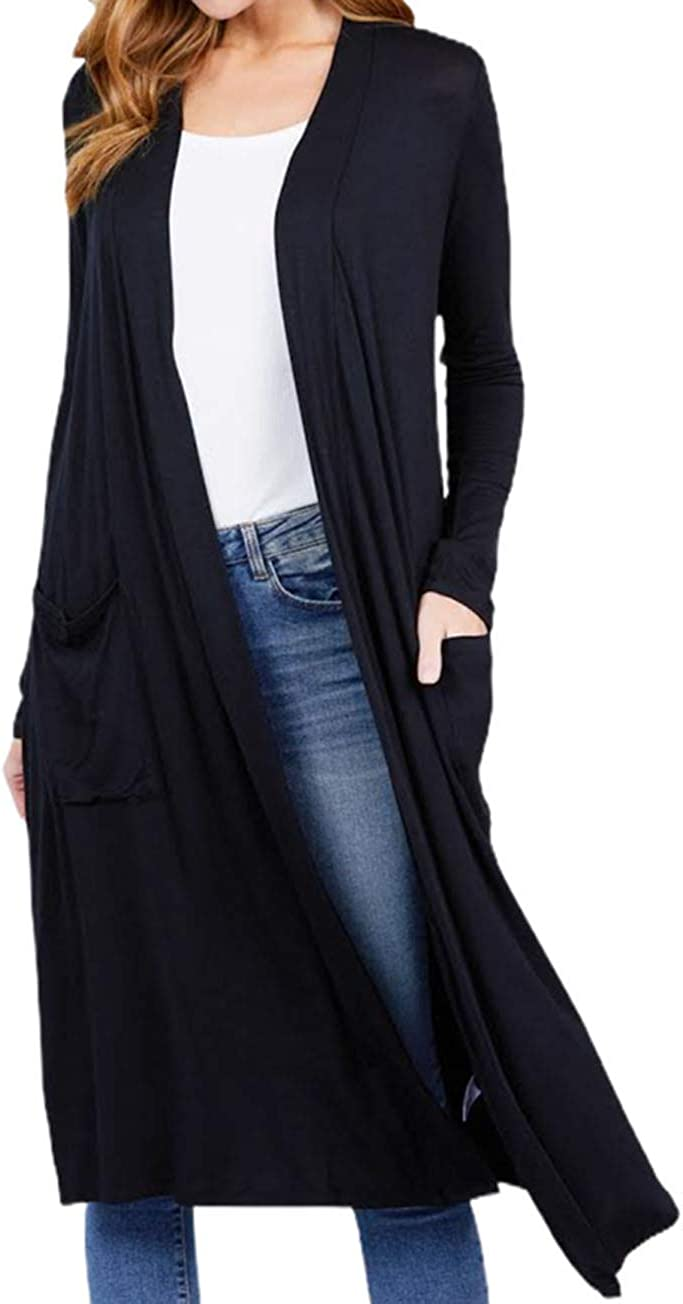 Casual Long Sleeve Open Front Long Duster Cardigan with Pockets