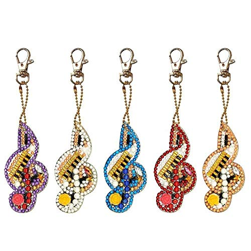 Key Ring Phone Charm 10 Pieces Diamond Painting Keychain Set 5D Diamond Painting Kits Full Drill Heart and Butterfly Shape Diamond Painting Pendant Ornaments for Art Craft Bag Decor